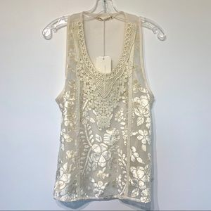 NWT Hippie Laundry velvet sheer tank blouse top